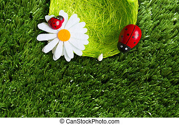 Summer background - A summer background with a nest,...