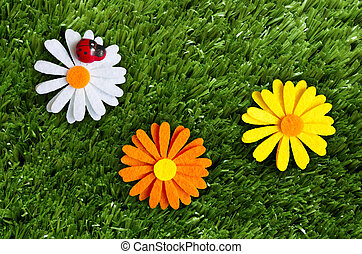 Summer background - A summer background with a ladybug,...