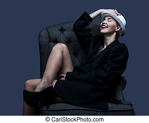 woman wearing a suit - happy laughing woman wearing a suit...