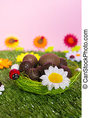 Easter background - An Easter background with some chocolate...
