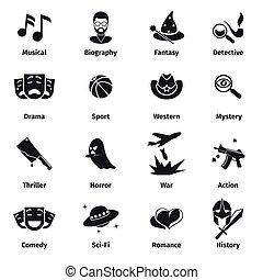 Movie genres vector icons Movie film genres, comedy genre,...