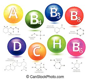 Vitamins chemical structures Molecule vitamin, molecular...
