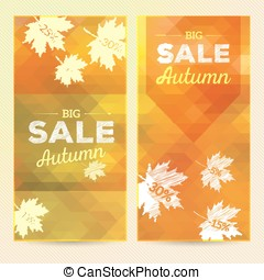 Autumn Sale, 2 vertical banners, vector background with...