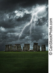 Stonehenge lightning storm - Lightning strikes above the...