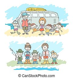 Mom, dad and childrens happy family sketch