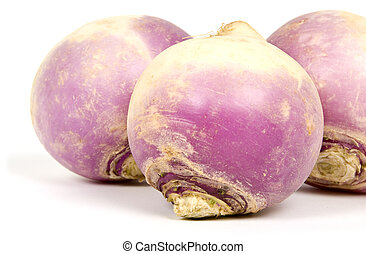 Turnips  - Close up of three turnips isolated on white.