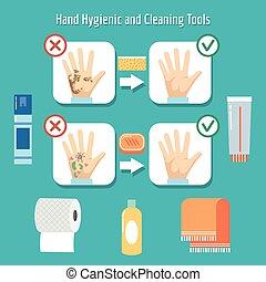 personal, artículos, higiene