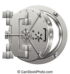 Half-open bank vault door on white. Safe bank, metal door...