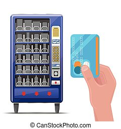 Vending machine and hand with credit card. Vector...