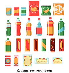 Fast food snacks and drinks flat vector icons. Vending...