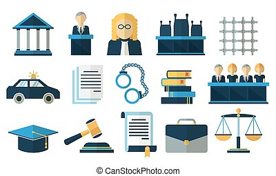 Law and justice flat vector icons Justice law, court legal...