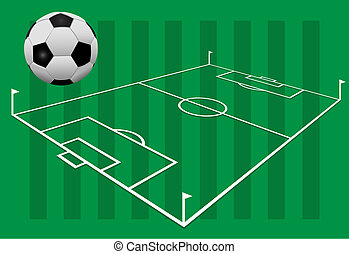 Soccer Ball on proportionally accurate 3D Football Field - A...