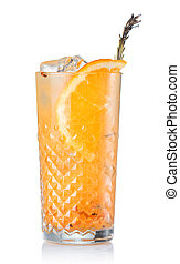 Alcohol cocktail with orange juice and fruits isolated