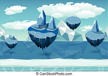 Arctic seamless cartoon landscape, endless pattern with icebergs and snow islands