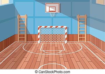 School or university gym hall. Gym court for football and...