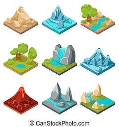 Game ground vector items. Nature stone game, landscape...