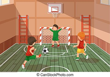 School soccer game. Kids playing soccer, vector illustration...