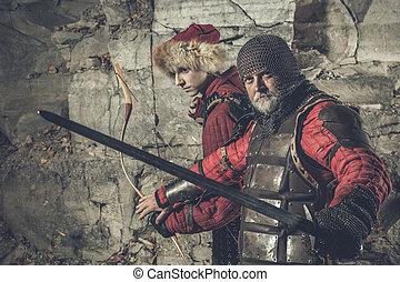 antigas, cavaleiro, com, a, espada, é, protegendo,...