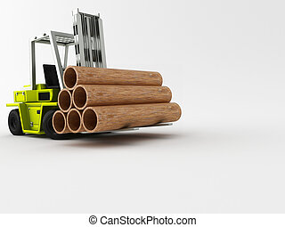 fork-lift truck carry his cargo on a white background