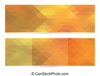 Autumn horizontal banner, vector polygonal background