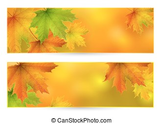 Autumn vector horizontal banner, background with maple...