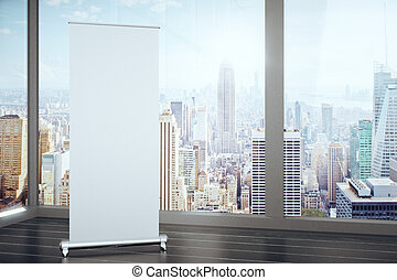 Blank banner in a room with large windows, mock up