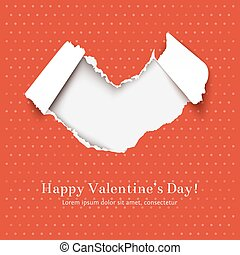 Torn paper heart - Greating card for Valentines Day with...