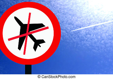 do not fly Planes - Red prohibition sign do not fly Planes...