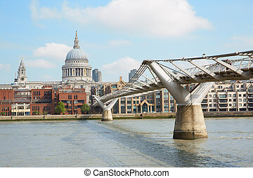 Millennium bridge and cathedral - Millennium bridge and St...