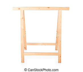 Sawhorse, DIY wooden tool on white - Sawhorse, DIY wooden...