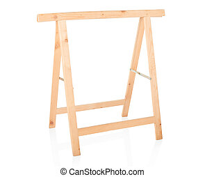 Sawhorse, DIY wooden tool isolated on white, clipping path...