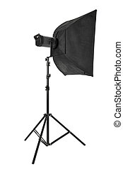 Studio flash with softbox and stand isolated on white,...