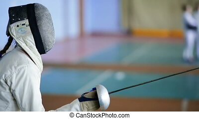fencers woman on a training
