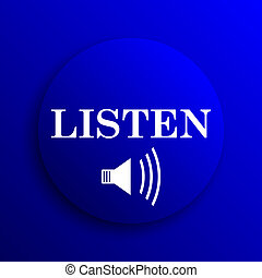 Listen icon. Internet button on blue background.