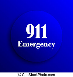 911 Emergency icon. Internet button on blue background.