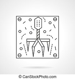 Bacteriophage icon flat line design vector icon - Virus...