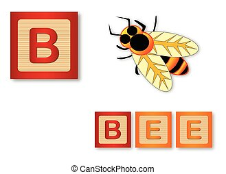 B Is For Bee - B is for Bee text with sliced apple