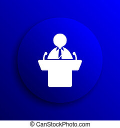 Speaker icon Internet button on blue background
