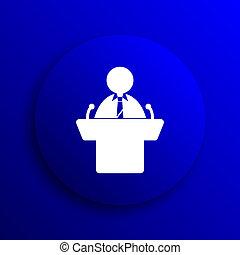 Speaker icon. Internet button on blue background.