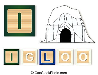 I Is For Igloo text with sliced apple
