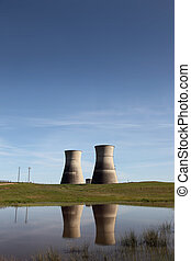 Nuclear Power Plant - Nuclear power plant, reflection of...