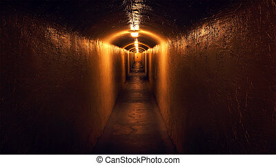 View Down a Mysterious Hallway - A view down a mysterious,...