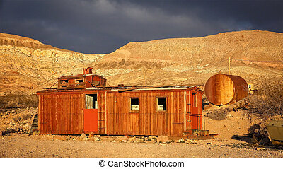 Abandoned Red Caboose in Rhyolite Ghost Town - An abandoned...