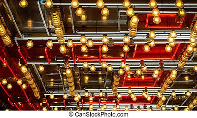 Pattern of Neon Lights Flashing in Las Vegas