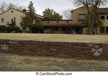 Mission Style Home and Retaining Wall - Exterior of a large...