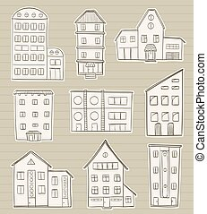 set of houses doodle sketches