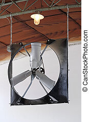 Fan in Barn - Big Axial Fan Blower at Barn Ceiling