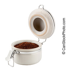 Open Coffee Canister with Metal Clamp. The image is a cut...