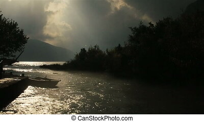 Fantastic sunset on the river in Montenegro, Budva -...