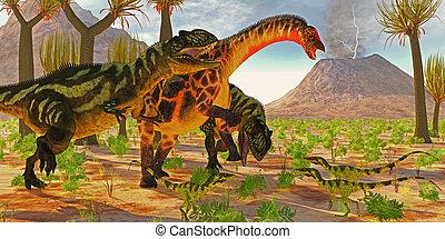 Dicraeosaurus attacked by Yangchuanosaurus